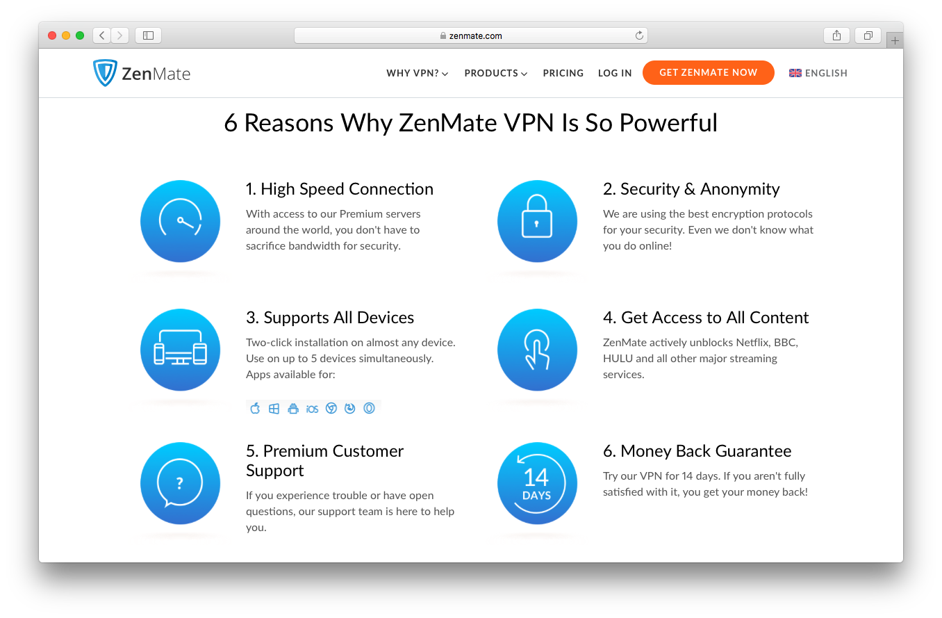 Zenmate homepage screenshot benefits 6 reasons powerful high speed connection security anonymity supports all devices access content premium customer support money back guarantee